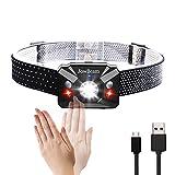 Die besten Wiederaufladbare Headlamps - USB wiederaufladbare HeadLamp Hand Wave Switch On/Off Weiß/Rot Bewertungen