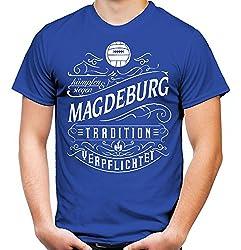 Mein Leben Magdeburg Männer und Herren T-Shirt | Fussball Ultras Geschenk | M1 Front (XL, Blau)