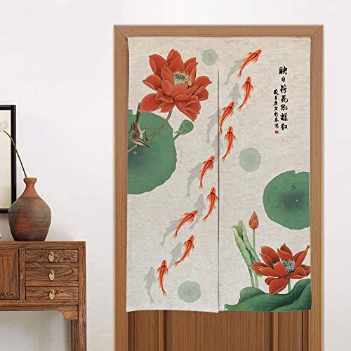 Be&xn Chinesische Lotus und Fisch-Landschaft Tür-Vorhang Bettwäsche aus Baumwolle Tapisserie Japanische noren Tür Vorhang blind fliegen-C 80x180cm(31x71inch)