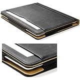 Cool Chameleon Black & Tan Soft Leather Wallet Smart Case Cover For Ipad 4 + Retina & Ipad 3 & Ipad 2 With Sleep Wake + Screen Protector