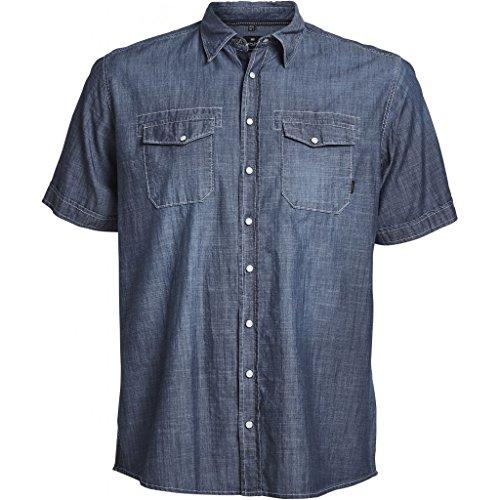 Replika jeans camicia chambray manica corta uomo taglie forti (3xl)