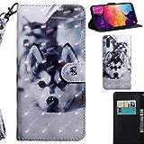 DodoBuy 3D Hülle für Samsung Galaxy A50, Flip PU Leder Schutzhülle Handy Tasche Brieftasche Wallet Case Cover Ständer mit Kartenfächer Trageschlaufe Magnetverschluss - H&