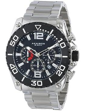 Akribos XXIV Herren Eroberer Chronograph silberfarbenes Edelstahl Armband Armbanduhr