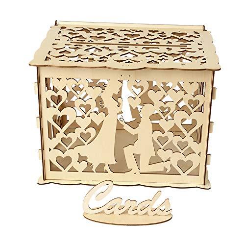 Decdeal Geschenkbox DIY Holz Hochzeit Karte Box mit Schloss und Karte Zeichen Rustikale Hohl Geschenk Kartenhalter für Empfang Hochzeitstag Party Dekoration (Hochzeit Geschenk-boxen Für Karten)
