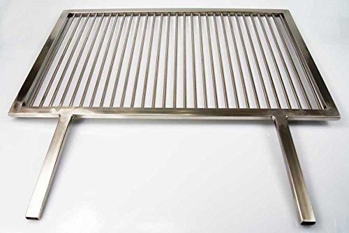PREMIUM Grillrost Edelstahl 84 x 40 cm + 2 feste Griffe Handarbeit V2A 1.4301