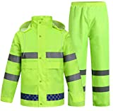SK Studio Erwachsenen Regenjacke Arbeit Regenanzug Wasserdicht Atmungsaktiv Reflektierend Regenhose Regenbekleidung Neon Grün EU 2XL