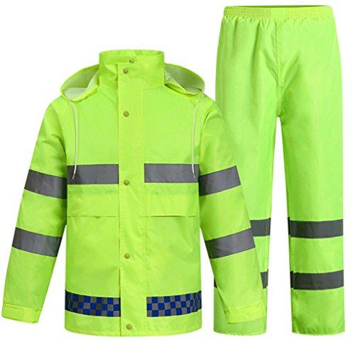 SK Studio Erwachsenen Regenjacke Arbeit Regenanzug Wasserdicht Atmungsaktiv Reflektierend Regenhose Regenbekleidung Neon Grün EU XL