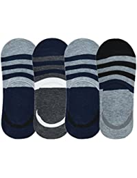 Me Stores Men's Loafer Socks No Show Socks with Silicon Support (Pack Of 4) (Multi-Coloured)