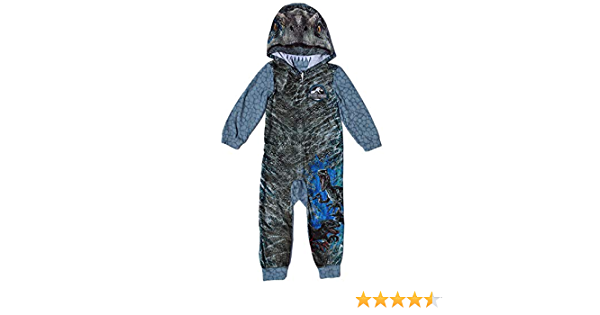AME Jurassic World Blue Raptor Fleece Hooded Union Suit Boys Pajamas 4-16