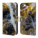 Head Case Designs Offizielle PLdesign Gold Weiss Felsen Gewebe Und Funkel Brieftasche Handyhülle aus Leder für iPhone 5 iPhone 5s iPhone SE