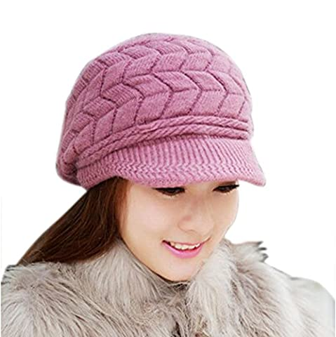 Koly Women's Hat Winter Skullies Beanies Knitted Warm Soft Cap (Purple)