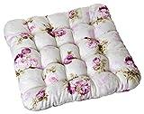 Aminata – Sitzkissen Sitzpolster á 42x42 cm für Indoor & Outdoor mit Feststellbänder aus Polyester Blumen Rosen Blüten Weiß Rosa Pink Kissen Auflage Polster Stuhlkissen Sitzerhöhung Boostersitz