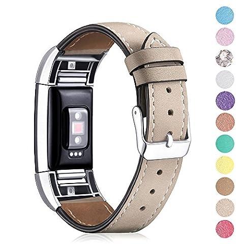 Fitbit Charge 2de remplacement de véritable doux Cuir de Veau, Ifeeker accessoire de bracelet cuir classique bracelet Band Bracelet pour Fitbit Charge 2de la fréquence cardiaque et bracelet de fitness avec connecteurs en métal, 04-Scrub Ginkgo biloba