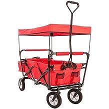 Ultrasport - Carrito plegable / carretilla / carro para picnic con funda para el transporte y cubierta, color rojo