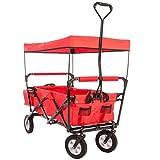 Ultrasport chariot pliable / charriot / charriot de pique-nique, charrette à bras avec housse de transport et toit, supportant une charge maximale de 55kg, rouge