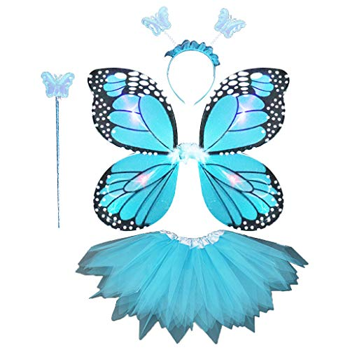 der 4 Stücke Fee Kostüm Set LED Simulation Schmetterlingsflügel Spitz Tutu Rock Stirnband Zauberstab Prinzessin Mädchen Party Dress Up ()