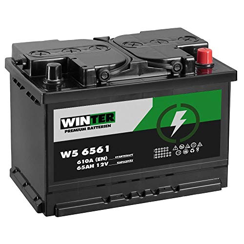 Preisvergleich Produktbild WINTER Premium Autobatterie 12V 65Ah 610A / EN statt 60Ah 61Ah 62Ah 63Ah 64Ah