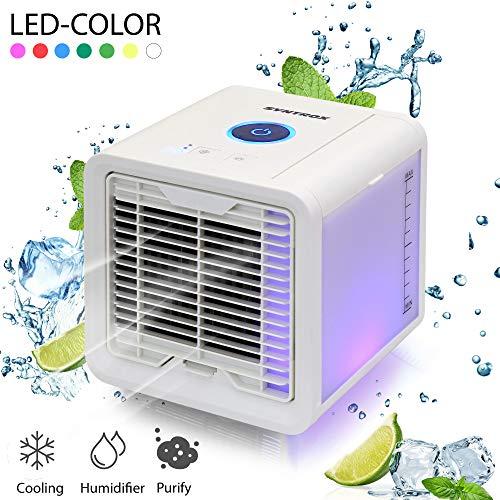 Syntrox Germany 4 in 1 Luftkühler Luftbefeuchter Lufterfrischer und Ventilator Mini Air Cooler mit LED-Farbwechsel USB AC-5V Mini LED White Usb 5v Ac
