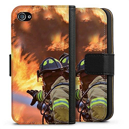 Apple iPhone X Silikon Hülle Case Schutzhülle Feuerwehrmann Einsatz Firefighter Sideflip Tasche schwarz