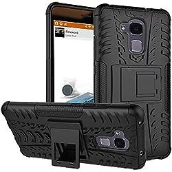 """SMTR Huawei Honor 5C (5.2"""") cas de téléphone, Double Couche Cover Antichoc Case Résistant aux chocs Goutte à l'épreuve Cas de Téléphone Portable Avec Béquille Etui Housse pour Huawei Honor 5C smartphone(Huawei Honor 5C,noir)"""