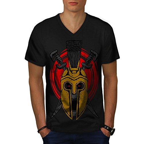 Krieg Gladiator Tod Schädel Herren L V-Ausschnitt T-shirt | Wellcoda (Emo T-shirt Krieg)