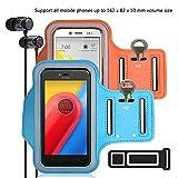 pinlu® 2 Pack Anti-Schweiß und Licht Sport Armband Fitness Für Wiko Pulp Fab 4G, Wiko Pulp 3G, Wiko Pulp 4G, Wiko Rainbow 3G, Mit Schlüsselhalter, 5.5 Zoll Armband -(Orange+Himmelblau)