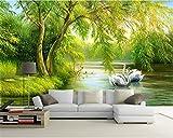HONGYAUNZHANG Grüner Baum Weißer Schwan Benutzerdefinierte Fototapete 3D Stereoskopischen Wand Wohnzimmer Schlafzimmer Sofa Hintergrund Wandmalereien,110Cm (H) X 190Cm (W)