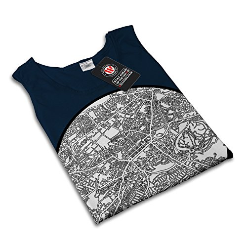 Edinburgh Karte Alt Mode Groß Stadt Karte Damen Schwarz S2XL Muskelshirt  Wellcoda Marine