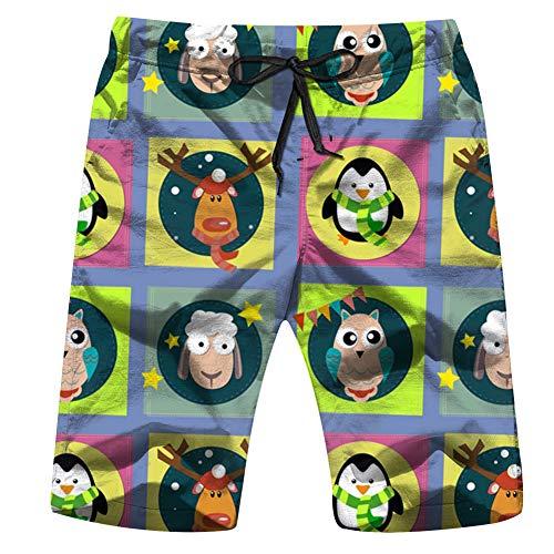 Huabuqi Deer Pinguin 2015 Holidays Herren Badehose Sommer Cool Quick Dry Board Shorts Badeanzug mit Seitentaschen Mesh Futter L - Barbie Holiday Angel