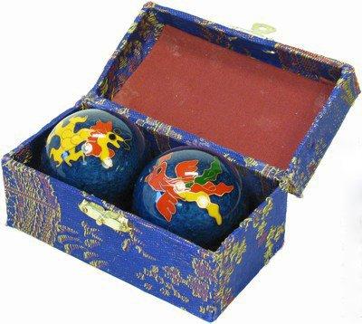 Feng shui - sfere baoding antistress cinesi decorate dragon & phoenix vari colori