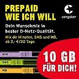 congstar Prepaid wie ich will [SIM, Micro-SIM und Nano-SIM] - Dein Wunschmix in bester D-Netz-Qualität inkl. 10 EUR Startguthaben. Mix dir Allnet-Minuten, SMS und MB. Prepaid-Aktion: Prepaid-Karte bestellen & 10 GB Datenvolumen für 30 Tage sichern.