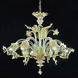 Ca' Venier Kronleuchter aus Murano-Glas 5-armig golden bernsteinfarbenen