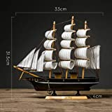 Statue,Scultura Decorazione casa Navigazione Normale Barca a Vela Modello Decorazione Bar Artigianato-H 31.5cm