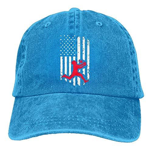 Sdltkhy Volleyball American Flag-1 Vintage Denim Baseball Cap Unisex ()