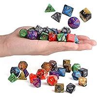 Preisvergleich für KUNSE 42Pcs 6 Farben Acryl-Mulitiseitige Würfel Setzt Rollenspiel Würfel Gadget