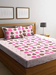 Boutique Bedding Queen Size Cotton 250TC Bedsheet with 2 Pillow Covers Leaves Pattern (Pink and Grey, 235x225