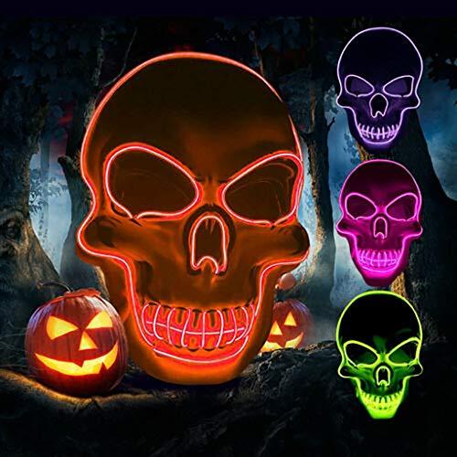 Bumen LED Maske mit 5 Blitzmodi für Halloween Fasching Karneval Party Kostüm Cosplay Dekoration (Rosa) Halloween Maske Halloween schminke Halloween verkleidung Maske Scream Halloween - Pro Cheerleader Kostüm