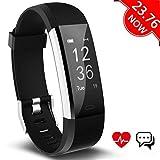 Fitness Tracker Aneken Aktivitätstracker Smart Uhr mit Schrittzähler Herzfrequenz Pulsmesser Kalorienzähler und Schlaf-Monitor Smart Watch Wasserdicht Anrufen/SMS Benacrichtigen (Dunkel schwarz)