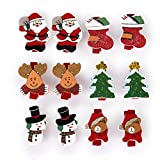 SupplyEU 12 Stk. Weihnachtsmuster Holzklammer Wäscheklammer Memo Clips Weihnachten Deko Fotoclips Kleidung Pins