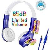 Mimoday Auriculares para niños con Volumen Limitado de 85dB Auriculares cerrados stereo para iPad iPhone Kindle Fire Tablet Móvil Android-Azul