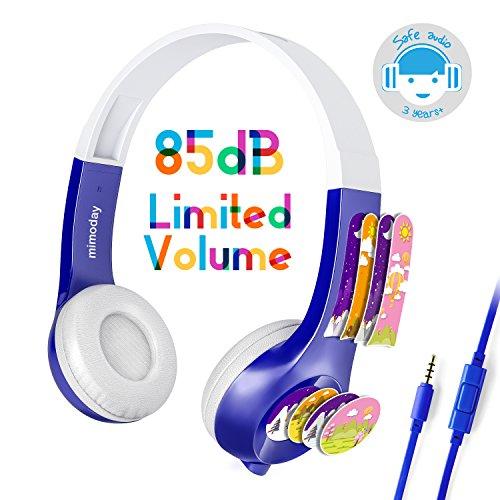 Mimoday Kinder Kopfhörer Begrenzter Lautstärke mit Mikrofon für Jungen und Mädchen iPad iPhone Kindle Fire Tablet Smartphones-Blau (Kinder-kopfhörer Für Amazon Kindle Fire)