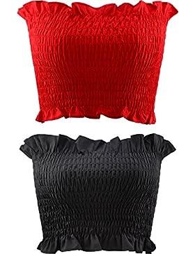 Jovitec 2 Piezas de Banda de Sujetador sin Tirantes Tubo Elástico de Mujeres Camisa Corta (Rojo y Negro)