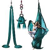 Chinejaper Aerial yoga-hangmat-kit, Antigravity yoga-schommel, verticale doek 8 m, inclusief montage-accessoires, geschikt voor ca. 1,8-3,6 m plafondhoogte, voor artistiek aerobatial yoga
