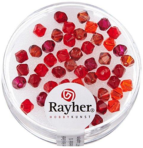 RAYHER HOBBY 14284000Swarovski cristallo, toni-taglio perline, 4mm di diametro, scatola 50pezzi, rosso Flash