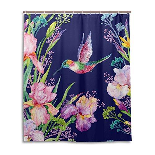 jstel Decor Duschvorhang Blumen und Kolibri Muster Print 100% Polyester Stoff Vorhang für die Dusche 152,4x 182,9cm für Home Badezimmer Deko Dusche Bad Vorhänge (Kolibri-stoff)