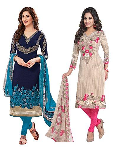 Ishin Women\'s Dress Material (Combodm-17003_Navy Blue & Beige_One Size)