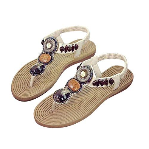 Damen Sommer Sandalen,Kaiki Böhmische Frauen Edelstein Hausschuhe Sommer Strand Sandalen Flip Flops flache Schuhe White