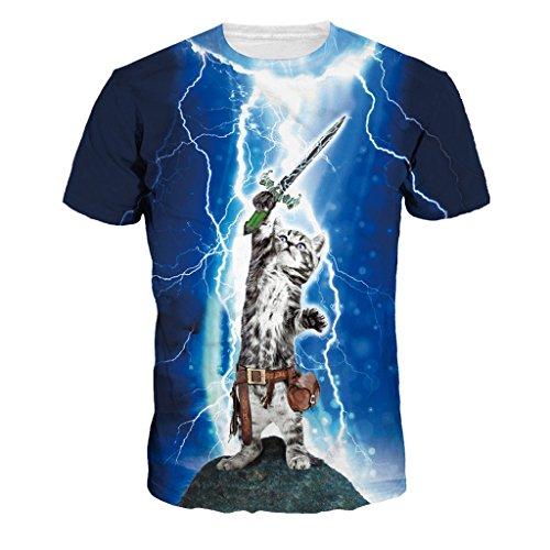 Jiayiqi Swordplay Simpático Gato Camisetas Casuales Brillante...