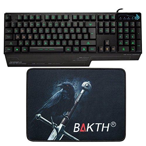BAKTH Einzigartige Premium einstellbare 3 Farben beleuchtete LED Hintergrundbeleuchtung Multimedia verdrahtete USB Gaming Tastatur US Layout + große Mäusematte