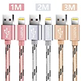[3-PACK] Cable Lightning, LUVFUN 1M+2M+3M Nylon Trenzado Cable iPhone Cargador iPhone Carga Lightning para iPhone 8 / 8 Plus / 7 / 7 plus / 6s / 6s plus / 6 / 6 plus / SE / 5s / 5c / 5, iPad 2/ 3 /4 Mini, iPad Pro Air, iPod & More (Oro rosa+Plata+Oro)